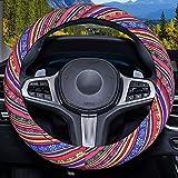 Himomet Blue Boho Memory Flom Steering Wheel Cover for Women,Unverisal Cloth Baja Blanket Enthic Steering Wheel Cover with Pr