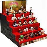 雛人形 陶器 錦彩華みやび雛(五段飾り) 長生堂オリジナル 名入れ 木札付(別送) コンパクト ひな人形