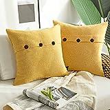 "Phantoscope Set of 2 Decorative Button Linen Series Grey Yellow Throw Pillow Case Cushion Cover 18"" x 18"" 45 x 45 cm"