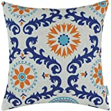 CaliTime Canvas Throw Pillow Cover Case for Couch Sofa Home Decoration Three-Tone Dahlia Floral Compass Geometric 18 X 18 Inc