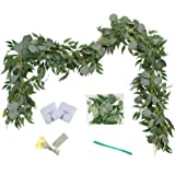Greentime 2 Pack 6.5 Feet Artificial Silver Dollar Eucalyptus Leaves Garland with Willow Vines Leaves Greenery Garland for We
