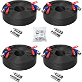 ZOSI 4 Pack 100ft (30 Meters) 2-in-1 Video Power Cable, BNC Extension Surveillance Camera Cables for Video Security Systems (