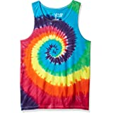 Liquid Blue Unisex-Adult 11106T-960-XL Rainbow Spiral Tie Dye Tank Top Sleeveless T-Shirt - Multi