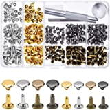 240 Sets Leather Rivets, Double Cap Rivet Tubular 4 Colours 2 Sizes Metal Studs with Fixing Tools for DIY Leather Craft/Cloth
