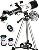 Gskyer 望遠鏡 70mm 口径400mm AZマウント 天文屈折望遠鏡 キッズ初心者用 - 旅行用望遠鏡 キャリー…