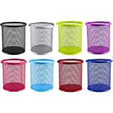 Faxco 8 Pack Colored Metal Pen Holder, Pencil Holders Pen Organizer Pencil Holder for Office(8 Colors)
