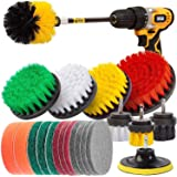 22Piece Drill Brush Attachments Set,Scrub Pads & Sponge, Power Scrubber Brush with Extend Long Attachment All Purpose Clean f