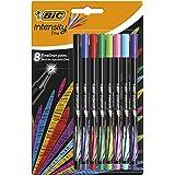 BIC Intensity Fineliner Felt Tip Pen Fine Point (0.4 mm) - Assorted Colours, Pack of 8 Fineliner Pens
