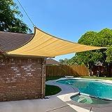 Cisvio 7' x 13' Sun Shade Sail Sand Rectangle Canopy UV Block Awning Shelter Fabric Cloth Screen for Outdoor Patio Garden Bac