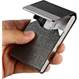 DMFLY Leather Business Card Holder Stainless Steel Business Card Case Name Card Holder Slim Metal Pocket Card Holder with Mag