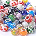Weebee Murano Glass Beads Large Hole Beads Silver Plated European Glass Lampwork Spacer Beads Bracelets Charm for Jewelry Mak
