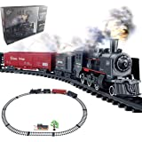 Haktoys Railway King Classical Freight Train Set Battery Operated Ready to Play Simulation Steam Locomotive Playset with Smok