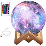 BRITOR Moon Lamp Night Light,16 Colors LED Moon Light with 4 Modes USB Charging and Wooden Stand,Remote & Touch Control(15cm/