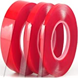 """Clear Double Sided Tape 1/4"""" 1/2"""" 1"""" x 10 Ft, Multi Size Pack, Heavy Duty Removable Mounting Sticky Adhesive Strips Grip Nano"""
