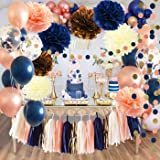 Bridal Shower Decorations Navy Rose Gold Balloons Qian's Party Navy Peach Wedding Decorations/Navy Peach Bachelorette Party D