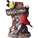TERESA'S COLLECTIONS Bird Welcome Sign Garden Statue with Solar Light Resin Garden Sculptures for Spring Outdoor Decoration(O
