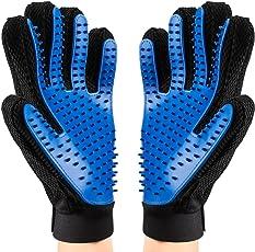 microrange ペット 手袋 シリコン製 抜け毛掃除 猫 ブラシ 犬 グルーミンググローブ けとり 左右ペア ブルー