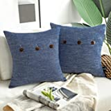 "Phantoscope Set of 2 Decorative Button Linen Series Navy Blue Throw Pillow Case Cushion Cover 18"" x 18"" 45 x 45 cm"
