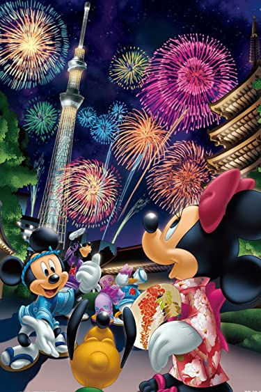 ディズニー  iPhone/Androidスマホ壁紙(640×960)-14 - 花火と東京スカイツリーを眺めるミッキーとミニー