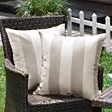 WESTERN HOME WH Outdoor Pillow Covers 20x20 Waterproof, Stripe Square Pillowcases Patio Throw Pillow Covers Cushions for Couc