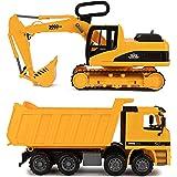 Toy To Enjoy (トイ トゥ エンジョイ) ショベルカー&ダンプトラック おもちゃ 子供用 (2個セット) 動かせるショベルとダンプカーのバック ゴミトラック&ブルドーザー ディガー 子供向け工事現場の車