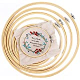IKAIN Embroidery Hoops 6 Pieces Bamboo Frame Cross Stitch Hoop Ring 4 inch to 10 inch for Embroidery Cross Stitch and DIY Dec