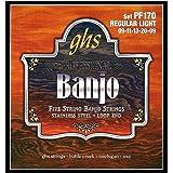 GHS Strings PF170 5-String Banjo Strings, Stainless Steel, Regular Light (.009-.020)