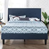 Zinus Omkaram Queen Upholstered Fabric Bed Frame | Button Detailed Bed Head, Metal Frame, Strong Wood Slat Support - Navy