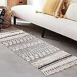 Tufted Tassel Cotton Area Rug 2' x 4.3', LEEVAN Hand Woven Door Mat Fringe Print Tassel Rugs White Geometric Modern Bohemian