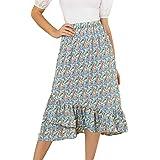 Allegra K Women's Floral Fall Elastic Waist Ruffle High Low Hem Vintage Skirt