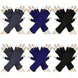 6 Pairs Half Finger Gloves Unisex Fingerless Gloves Winter Stretchy Knit Gloves