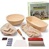 Ferment+Care Banneton Proofing Basket Set, 2 Shapes - Oval (30cm*15cm) & Round (25cm), Handmade, Natural & Food Safe, 7 Pack
