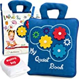 deMoca Quiet Book Montessori Toys for Toddlers – Travel Toy – Educational Toy with 9 Toddler Activities Busy Book for Boys &