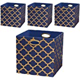 Posprica Storage Bins, Storage Cubes Baskets Boxes Containers Closet Organizers,More Durable Fabric Drawers, Navy/Gold Lanter