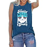 BASCIHOUSE Women Tank Top Feelin' Willie Good Letter Printed Graphic Tee Summer Loose Fit Casual Sleeveless Vest Tops