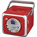 Jensen CD-555 Red CD Bluetooth Boombox Portable Bluetooth Music System with CD Player +CD-R/RW & FM Radio with Aux-in & Headp