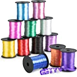 Kicko Curling Ribbon - Colorful Assorted - 12 Pack - for Florist, Flowers, Arts and Crafts, Wrapping, Hair, School, Girls, Et