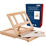 U.S. Art Supply Solana Adjustable Wood Desk Table Easel with Storage Drawer, Premium Beechwood