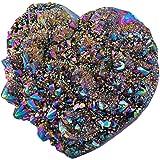 SUNYIKLoveHeartRainbow TitaniumCoatedQuartzCrystalCluster,HealingCrystalDrusyGeodeGemstoneSpecimenFigurinefor
