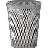HOUZE LN-5193 - 60L Polka Dots Tall Laundry Basket (Grey)