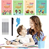 Katieyca 4 Packs Calligraphy Writing Book, Sank Magic Practice Writing Book Include Drawing/Math/Alphabet/Number-Reusable Eng