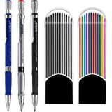Jovitec 3 Pieces 2.0 mm Mechanical Pencil with 2 Cases Lead Refills, Color and Black Refills for Draft Drawing, Writing, Craf