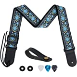 Guitar Strap, Tifanso Jacquard Weave Guitar Strap with Genuine Leather Ends - Soft Adjustable Acoustic Guitar Strap for Elect