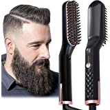AU Plug Hair Straightening Brush, Beard Straightener Brush, 3-in-1 Ionic Straightening Comb with Anti-Scald Feature Heat Resi