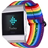 Bandmax Compatible Fitbit Ionic Rainbow Band,Nylon Breathable LGBT Strap Wristband Accessories with Black Plated Clasp Remova