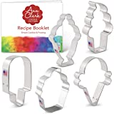 Ice Cream and Sweets Cookie Cutter Set with Recipe Booklet - 5 Piece - Ice Cream Cone, Soft Serve Cone, Popsicle, Ice Cream S