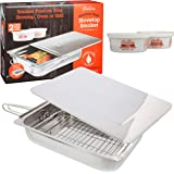 """Camerons Large Stovetop Smoker w Wood Chips and Recipes - 11"""" x 15"""" x 3.5"""" Stainless Steel Smoker"""