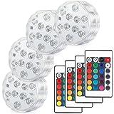 Kohree LED潜水ライト 4点セット RGB リモコン付 電池式 IP68防水 バスライト 水槽照明 イルミネーション お風呂 1年安心サービス