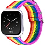Bandmax Compatible for Rainbow Fitbit Versa Bands LGBT, Nylon Fitbit Straps Accessories Breathable Sport Wristband Versa Watc