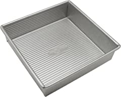 USA PAN 1120BW Bakeware Square Cake Pan, 8 inch, Nonstick & Quick Release Coating, Made in the USA from Aluminized Steel